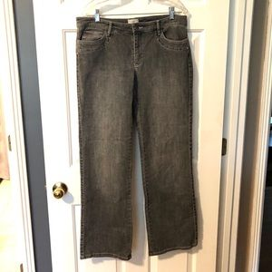 WHBM Distressed Boot Cut Embellished Jeans